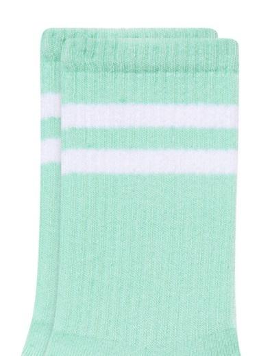 Mavi Bileği Çizgili Yeşil Soket Çorap Yeşil